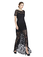 Formal Evening Dress Sheath / Column Jewel Asymmetrical Lace / Charmeuse with Lace