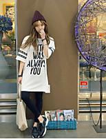 Damen Druck Retro Party/Cocktail T-shirt,Rundhalsausschnitt Sommer ½ Länge Ärmel Weiß / Schwarz Polyester Mittel