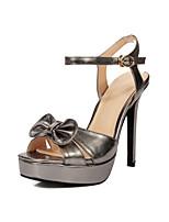 Women's Shoes PU Spring / Summer / Fall Heels Party & Evening / Dress Platform Bowknot / Slip-on Pink / Silver