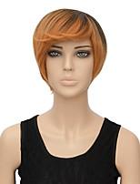 pelucas cortas de moda para las mujeres negras calientan 29cm gradiente peluca cosplay pelucas sintéticas de color marrón oscuro corto