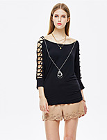 Women's Going out Simple Summer Blouse,Solid Round Neck ¾ Sleeve Black Rayon / Spandex Thin