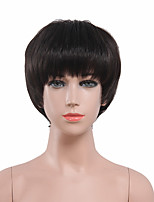 Capless Black Color High Quality Natural Short Straight Synthetic Wig