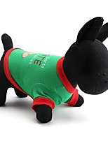 Gatos / Perros Camiseta Verde Primavera/Otoño Navidad Navidad