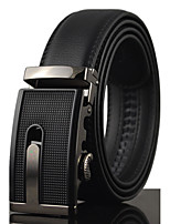 Men Black Business Automatic Buckle Genuine Leather Wide Belt Waist Strap,Work / Casual