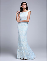 Formal Evening Dress Sheath / Column Off-the-shoulder Floor-length Lace with