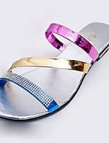 Women's Sandals Summer Open Toe PU Casual Flat Heel Others Blue / Silver
