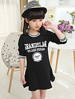 Girl's Casual/Daily Print Dress,Rayon Spring / Fall Black / White
