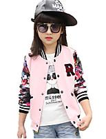 Girl's Fashion Sports Floral Baseball Stitching Long Sleeve Coat/Blazer