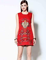 Boutique S Women's Going out Simple Dress,Embroidered Round Neck Above Knee Sleeveless Red Polyester Spring / Summer