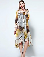 Boutique S Women's Going out Sophisticated Loose Dress,Floral Round Neck Asymmetrical ¾ Sleeve Yellow Linen