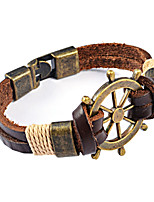 Bronze Rudder Anchor Punk Men's Leather Bracelet