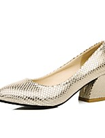 Women's Spring / Summer / Fall Heels / Comfort / Round Toe PU Outdoor / Office & Career / Dress Chunky Heel Sequin Silver / Gold