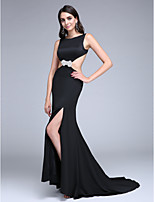TS Couture® Formal Evening Dress Sheath / Column Bateau Sweep / Brush Train Stretch Satin with Split Front