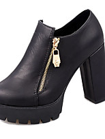 Women's Heels Fall / Winter Heels PU Casual Chunky Heel Zipper Black / Brown Others