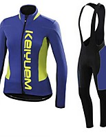 KEIYUEM® Winter Thermal fleece Long Sleeve Cycling Jersey+Long Bib Tights Ropa Ciclismo Cycling Clothing Suits #W50