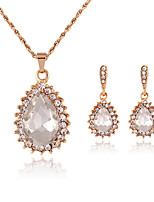 Elegant Gem Crystal Drop Pendant Necklace & Earrings Jewelry Set with Crystal Crown