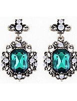 Gorgeous Palace Retro Fashion Green Crystal Big Stones Earrings