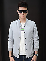Men's Long Sleeve Casual / Work / Formal / Sport / Plus Sizes Jacket,Polyester Patchwork / Letter