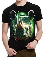 Men's Printing Rhino Design Black 3D Round Neck  Cotton T-shirt