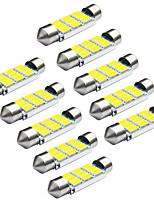 Jiawen 10pcs / lot festone 39 millimetri 1.8W 9 x 5730 SMD led bianco luci di segnalazione auto (12V DC)