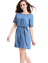 Women's Casual/Daily Simple Plus Size / Loose Denim Dress,Solid Round Neck Mini ½ Length Sleeve Blue