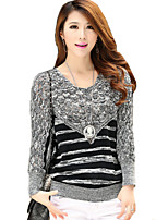 Women's Striped Gray Pullover,Street chic Long Sleeve