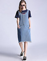 Women's Casual/Daily Simple Loose Plus Size Denim Dress,Solid Round Neck Knee-length Sleeveless Blue