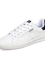 Hombre-Tacón Plano-Bailarinas-Zapatillas de deporte-Casual-Cuero-Negro / Negro y Blanco