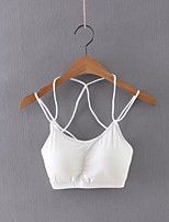 Women's Casual/Daily Sexy Summer Tank Top,Solid Strap Sleeveless White / Black Cotton / Linen Thin