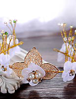 Dame / Blomsterpige Legering / Imitert Perle Headpiece-Bryllup / Spesiell Leilighet Pannebånd 1 Deler Beige Rund 30cm