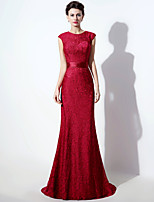 Formal Evening Dress Trumpet / Mermaid Jewel Sweep / Brush Train Lace with Lace / Sash / Ribbon