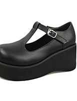 Women's Heels Fall Round Toe PU Casual Wedge Heel Buckle Black / Beige Others