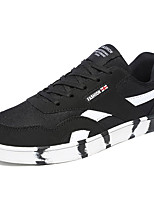 Men's Flats Spring / Fall Round Toe Tulle Athletic Flat Heel Lace-up Black / Blue / Red Sneaker