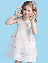 Girl's Cotton Lovely Summer Flower Embroideries Princess Dress