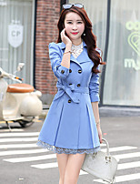 Women's Going out Cute Trench Coat,Solid Shirt Collar Long Sleeve Fall / Winter Polyester Medium