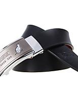 A4007 Men's Cowhide Belts Automatic Buckle High Grade Soft Leather Belt Black