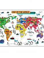 Wall Stickers Wall Decals, Cute Cartoon Animals World Map PVC Wall Sticker