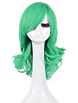 High Quality Natural Long Curly Green Color Synthetic Wig For White Women