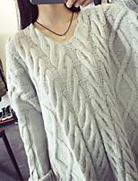 Damen Pullover-Lässig/Alltäglich Retro Solide Grau Langarm Polyester Mittel