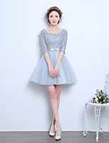 Short / Mini Tulle Bridesmaid Dress A-line Scoop with Bow(s)