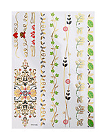 1pc Flash Metallic Waterproof Tattoo Glod Flower Leaf Wrist Bracelet Temporary Tattoo Sticker YH-105