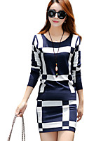 Women's Going out Street chic Regular Set,Geometric Blue / Red Round Neck Long Sleeve Acrylic Fall Medium