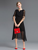 Women's Going out Simple Sheath Dress,Solid Round Neck Midi Short Sleeve Red / Black Silk Summer Mid Rise