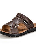sapatos masculinos pu sandálias casuais caminhada ocasional outros salto planas marrom / amarelo