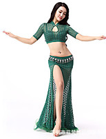 Belly Dance Outfits Women's Performance Spandex Lace 2 Pieces  Belly Dance Short Sleeve Dropped