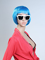 Capless Bule Color Short High Quality Natural Straight Synthetic Wig