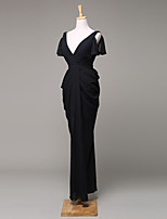 Formal Evening Dress Sheath / Column V-neck Ankle-length Chiffon with Draping
