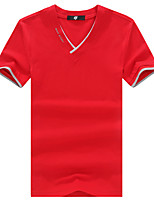 Summer Men's Casual/Daily/Plus Size/Solid Color V Neck Short Sleeve T-Shirt Blouse Tops