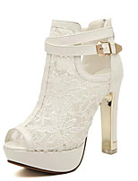 Women's Sandals Summer Peep Toe Lace Casual Chunky Heel Others Black / White Others