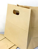 Punching Square Bottom Paper Bag Lunch Box Snack Takeaway Bags Packing Bags Kraft Paper Bag